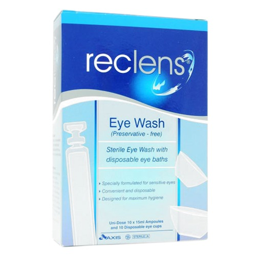 Reclens Normal Saline 15ml with Disposable Eye Baths  Box 10