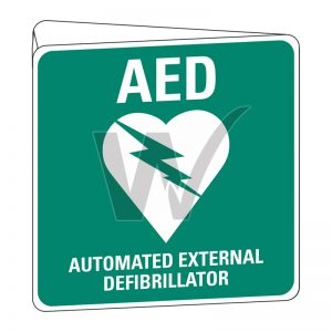 Automated External Defibrillator AED Sign (Double Sided) Off Wall