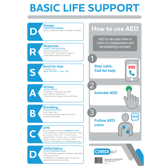 Cpr Drsabcd Wall Chart With Aed Instructions The First