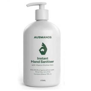 Ausmanos Hand Sanitiser 375ml (75% Ethanol) with Vitamin E & Aloe Vera