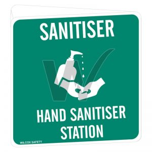Hand Sanitiser Station Sign (Double Sided) Off Wall Poly 225mm x 225mm