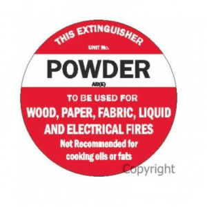 Fire Extinguisher Sign ABE Powder Poly Disc 200mm x 200mm