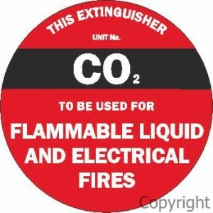 Fire Extinguisher Sign CO2 Round Poly Disc 200mm x 200mm